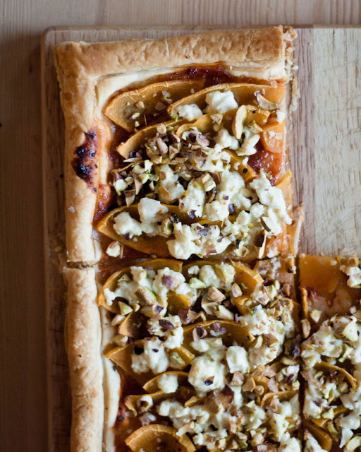 Butternut squash and feta tart
