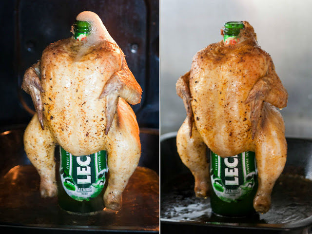 Chicken on the beer bottle