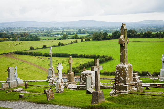 view from Cashel castle, Ireland / Irish cementary
