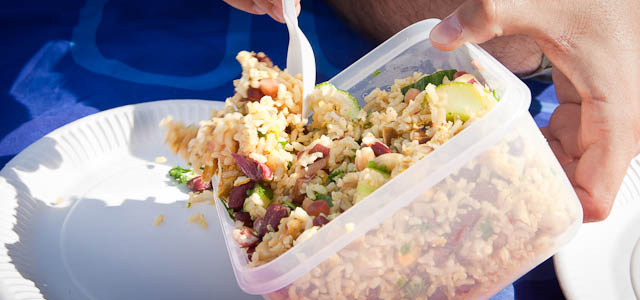 Indian rice salad with chicken - food for picnic