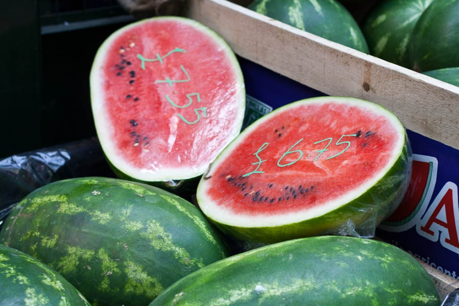 water melons on the Borough Market in London
