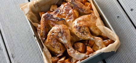 Easy roasted chicken with butternut squash, butter beans and tomatoes