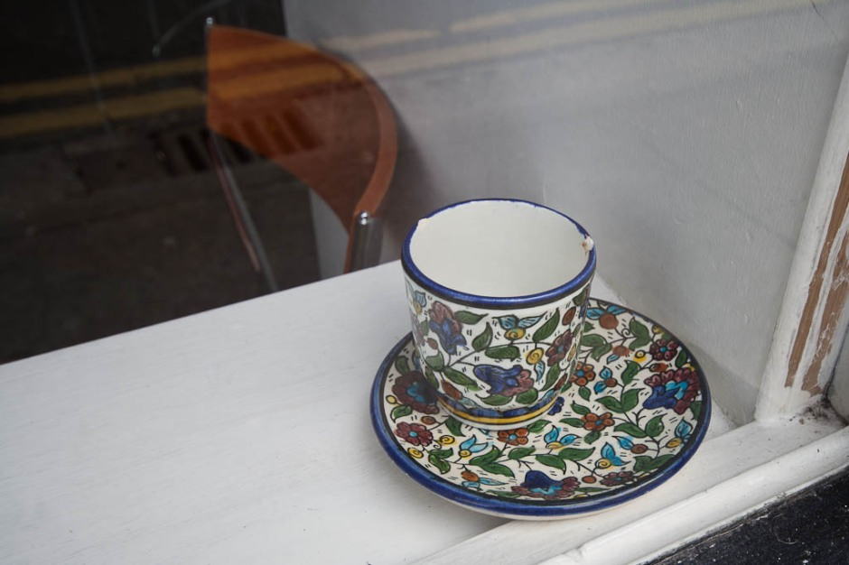 random cup in a window