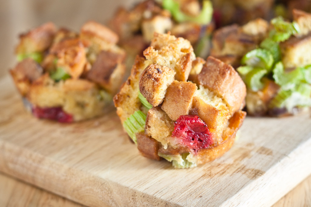 stuffing muffins with cranberries and sage