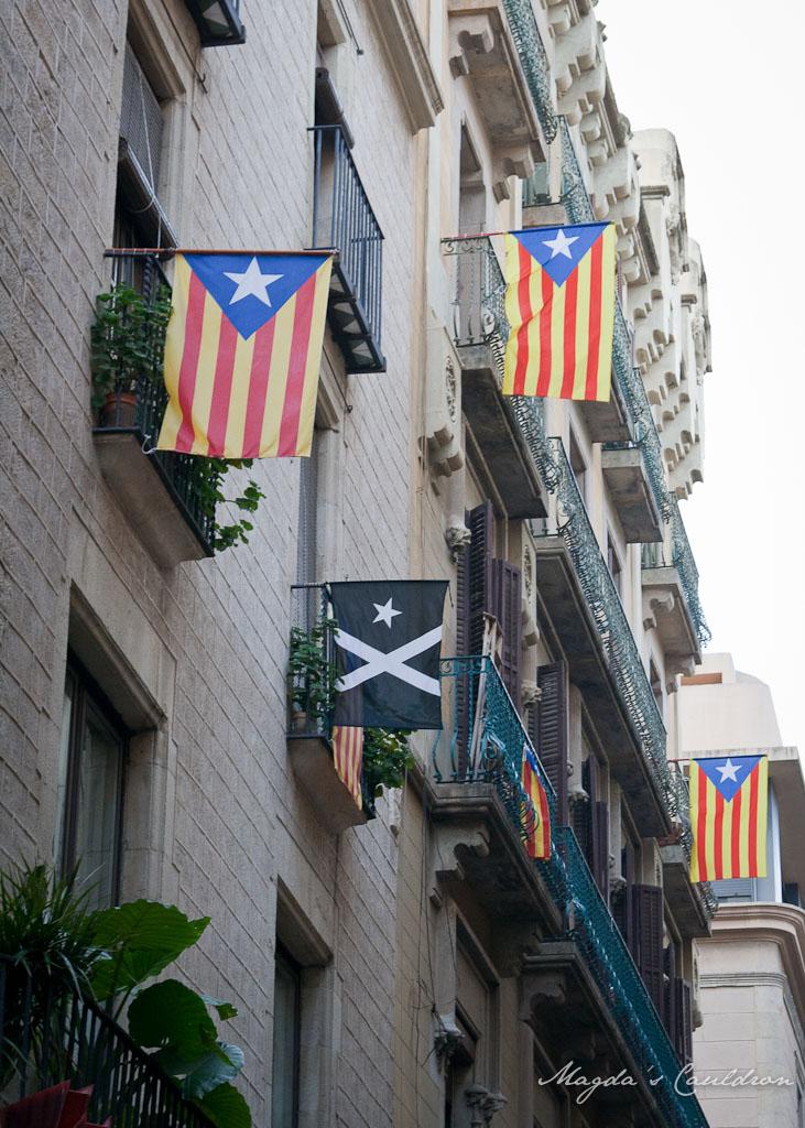 Catalonian flags in Barcelona