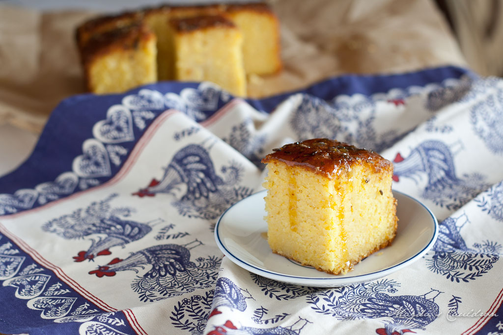 orange lavender and almond syrup cake