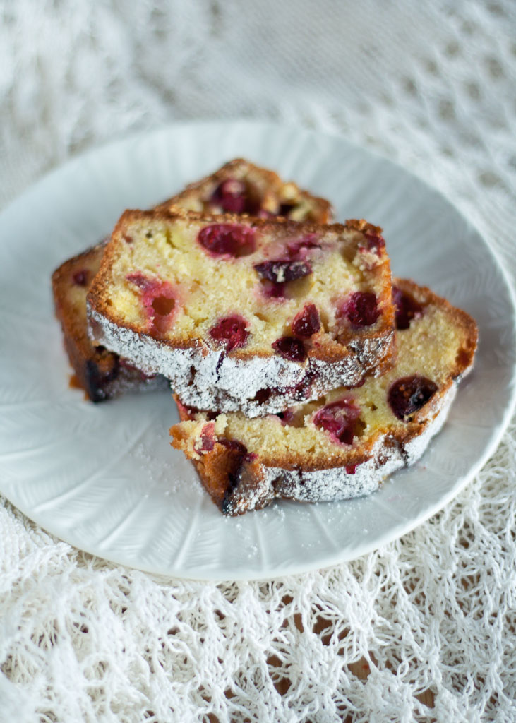 Marzipan and cranberry cake