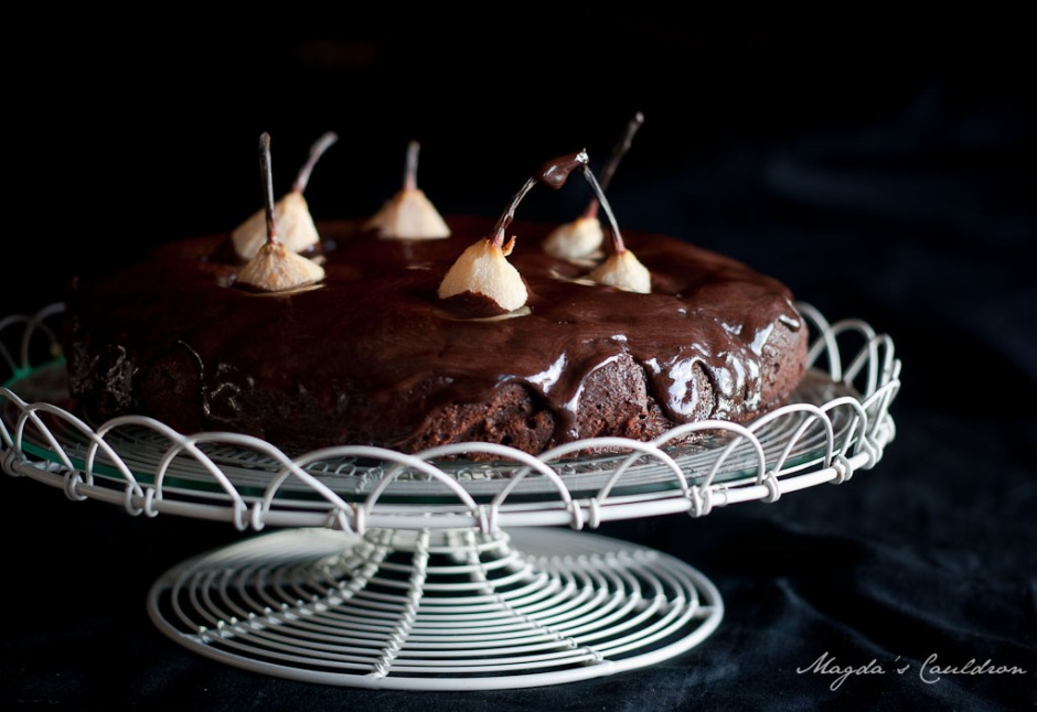 chocolate almond pear cake