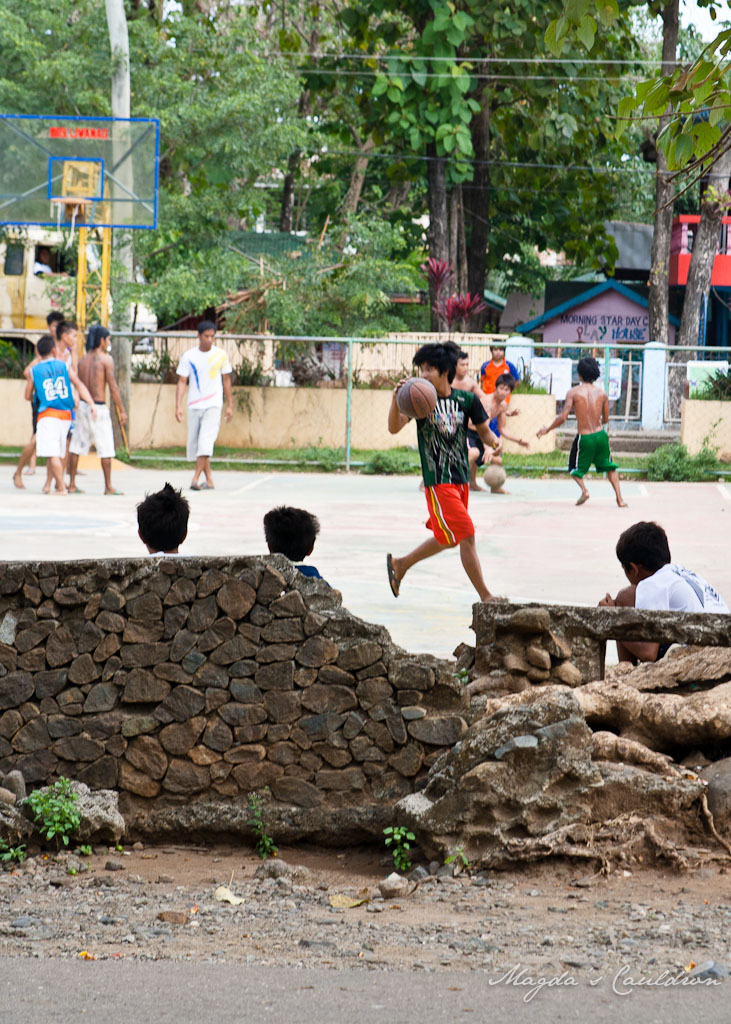 Playing basketball in Puerto Princesa