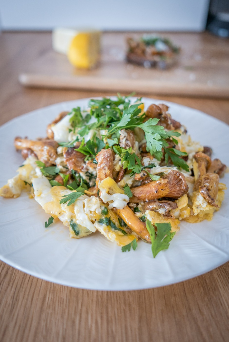 Chanterelles with scrambled eggs